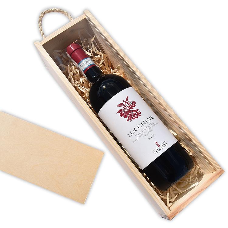 Skrzynka na wino zasuwana - naturalne drewno - ze znakowaniem lub bez!