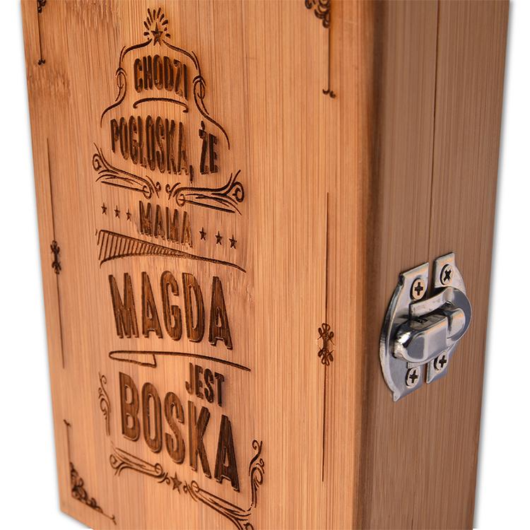 Duży zestaw z bambusa do wina - ze znakowaniem lub bez!
