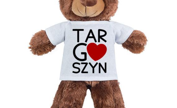 Targoszyn - maskotka miś pluszowy w koszulce z nadrukiem
