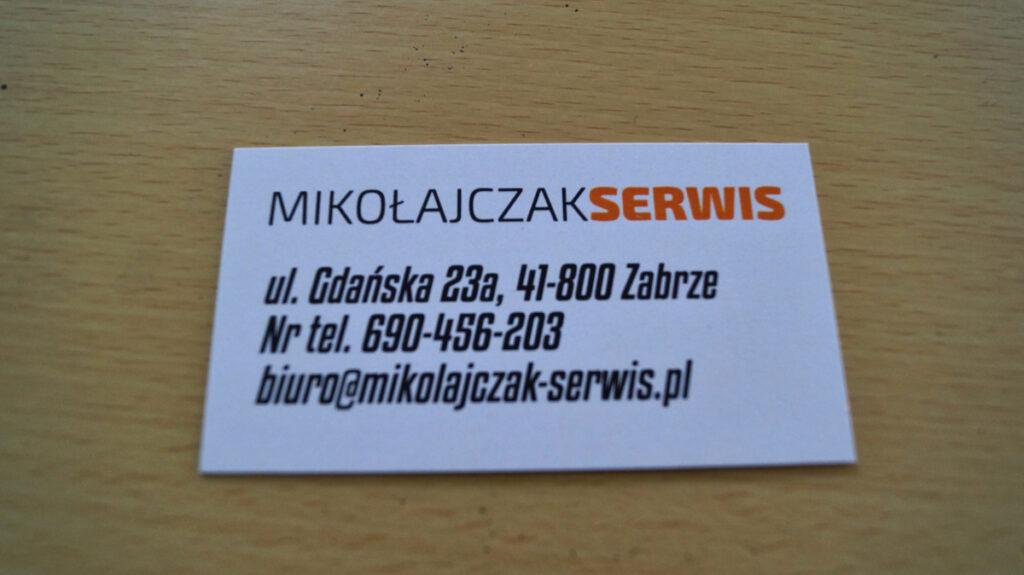 Projekt graficzny wizytówki dla Mikołajczak Serwis Zabrze