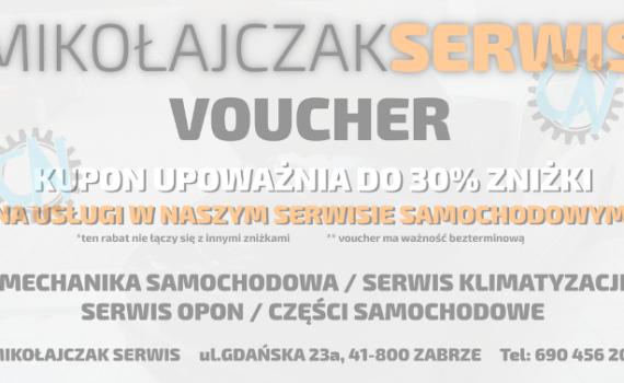 Kupon/Voucher MIKOŁAJCZAK SERWIS, Zabrze - Projekt graficzny CENTRUM NADRUKU, Gliwice